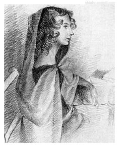 """Anne Bronte Younger sister to Charlotte and Emily Bronte, and author of """"Agnes Grey"""" and """"The Tenant of Wildfell Hall"""". Pencil sketch of her sister by Charlotte Bronte in Charlotte Bronte, Emily Bronte, Jane Eyre, Agnes Grey, Bronte Sisters, The Tenant, Romance, Sketches, Sphynx"""