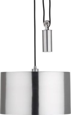 """Pully Pendant Lamp.  Smooth operator, slick silver pewtered steel shade operates illumination up/down via steel counterweight cylinder and pulley system on exposed black cloth cord (adjustable 15""""–80"""" cord height). (cb2)"""