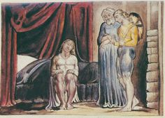 """Illustrations to John Bunyan's *The Pilgrim's Progress* By William Blake:  13 The Interpreter """"took Christian by the hand again, and led him into a chamber, where there was one rising out of bed; and as he put on his raiment, he shook and trembled....So he began, and said, This night as I was in my sleep, I dreamed...I thought that the day of judgment was come, and that I was not ready for it"""""""