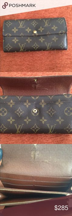 Authentic Louis Vuitton Wallet Authentic Louis Vuitton Sarah Long Bilfold Wallet. Code TH0055. Length 7.3 inches, Height 4.1 inches. Overall good condition some stitches loose on side corner. Please see pictures. No Trades and No Bundles. Comes with Dust Bag and Box. For Full Price. Silly Offers will get you blocked. No warning block so please read this description. Thanks😃 Louis Vuitton Bags Wallets