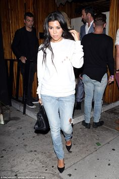 Party-hard star: Kourtney Kardashian hit The Nice Guy on Wednesday night, following the family celebrations in honour of her grandmother MJ
