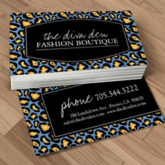 Fully customizable animal print business cards created by Colourful Designs Inc.