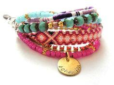 Bohemian hippie bracelet with friendship bracelets by OOAKjewelz, $100.00