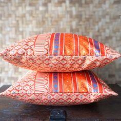Menyala Ikat Cushion Covers, Decorative Pillows, Ethnic Home Decor, Ikat Home Decor, Orange Ikat PIllows, Bohemian Homewares 40cm x 40cm by FabricStoryShop on Etsy https://www.etsy.com/listing/219549898/menyala-ikat-cushion-covers-decorative