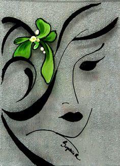 Original Painting on Glass Woman Face Portrait by CanotStop