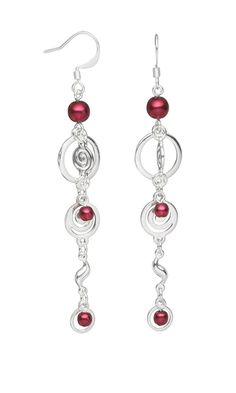 Earrings with Czech Pressed Glass Druk Beads and Silver-Plated Links - Fire Mountain Gems and Beads