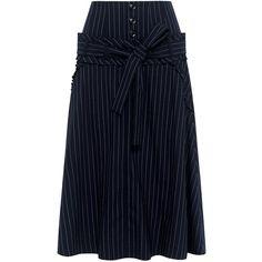 Marissa Webb - Amber Pinstripe Midi Skirt ($425) ❤ liked on Polyvore featuring skirts, stripe skirts, ruched midi skirt, high-waist skirt, midi skirt and navy striped skirt
