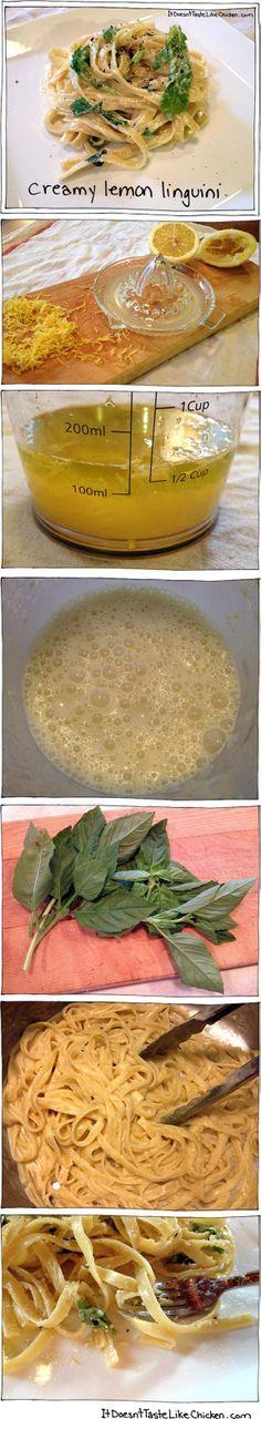 Creamy Lemon Linguini - This #pasta takes just 15 minutes to make, and it's #Vegan!!