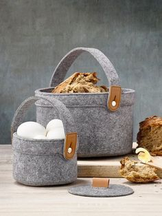 These beautiful felt and leather baskets have been created by a Danish designer whose passion is designing every day objects with a sense of nostalgia and function, for the modern era.