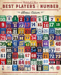 The best NBA players  to wear each number from 00 to 99.