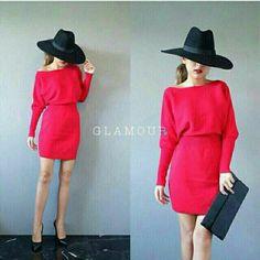เดรสผ้าไหมพรม คอปาด จั้มเอว สีแดง ในราคา ฿350 ซื้อได้ที่ line id : icandid