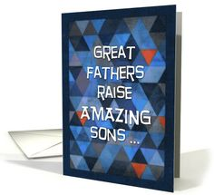 A cute, funny Father's Day card with a geometric, triangle pattern in blue, charcoal, grey, navy & orange. Text: Great fathers raise amazing sons ... Inside: Just trying to come up with a theory to explain my obvious awesomeness. Happy Father's Day, Dad, thanks for doing such a great job! Fathers Day Ideas For Husband, First Fathers Day, Happy Fathers Day, Fathers Day Gifts, Funny Fathers Day Card, Fathers Day Quotes, Daddy Daughter Dates, Father Daughter, Jobs Daughters