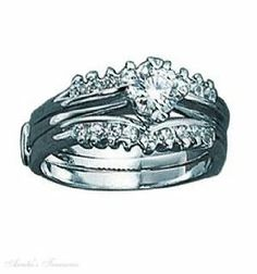 Sterling Silver Two Piece Ring Set Cubic Zirconia Chevron Bands Auntie's Treasures. $148.86