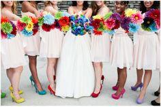 My rainbow wedding!!!!!!! :) I think it deserves to be on pinterest! :} #wedding #rainbowwedding #colorfulwedding #funwedding #uniquewedding