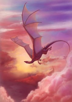 Close to heaven Art Print by Alvia Alcedo #flying #dragon #fantasy