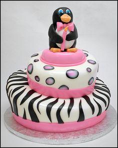 animal print penguin cake