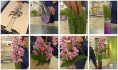 Composición floral con orquídeas, una tarea de arte floral en la que utilizaremos gelatina morada para darle un toque especial. #artefloral #orquidea