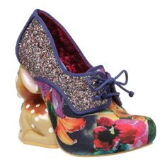 Irregular Choice Fawn. Be 'FAWNTASTIC' in a pair of our Fawn heels! A floral printed toe cap and metallic glittered covered shoe with a round toe and lace sits on top of our cute deer character heel!