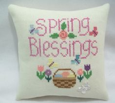 Spring/ Easter Mini Pillow / Cross Stitched by luvinstitchin4u