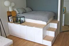 If you build a foundation of cabinets for your bed, you'll get a lot of storage space . - Ikea DIY - The best IKEA hacks all in one place Modern Master Bedroom, Cute Bedroom Ideas, Best Ikea, Ikea Bedroom, Ikea Beds, Home Organization Hacks, Room Inspiration, Storage Spaces, Decoration