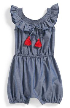 egg by susan lazar Chambray Romper  Baby Girls