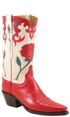 Ladies Lucchese Vintage Classics Red & White Goat Custom Hand-Made Cowgirl Boots White Cowboy Boots, Cowboy Boot Outfits, Cowgirl Boots, Western Boots, Riding Boots, Custom Cowboy Boots, Custom Boots, Western Cowboy, Black Boots