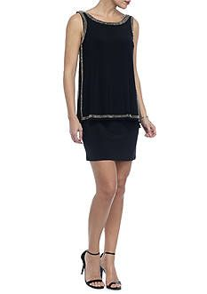 Betsy & Adam Bead Embellished Popover Cocktail Dress