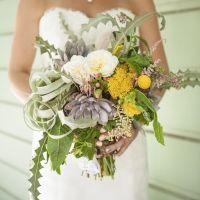 Succulent Wedding Bouquet, Shannon Losorelli-Doronio & Jay Doronio, Los Angeles wedding, Heritage Square Museum, Photography by Skyla Walton
