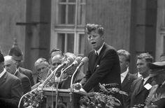 """President Kennedy's """"ich bin ein Berliner"""" speech on June 26, 1963 in Berlin. . Photo courtesy DPA archive."""