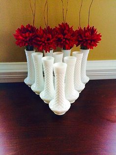 Milk Glass Vase Set of 10 White Flower Bud Vases Randall Glass Quilted Diamond Pattern by FelixVintageMarket