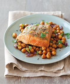 Grilled Salmon with Charmoula Chickpeas