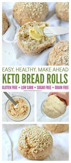 Keto bread rolls NO EGGS ! Delicious crispy bread rolls made of almond flour, coconut flour and psyllium husk. free keto low carb Keto Bread Rolls - Vegan + No Eggs - Sweetashoney Dairy Free Low Carb, Low Carb Keto, Low Carb Recipes, Gluten Free, Atkins Recipes, Lowest Carb Bread Recipe, Low Carb Bread, Carb Free Bread, Grain Free Bread