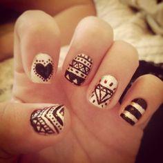 Pink Nation Heart Nails