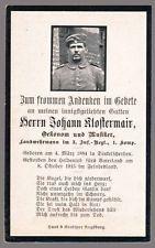 WW1 GERMAN INFANTRY DEATH CARD STERBEBILD - BURIED MENEN, BELGIUM 1915