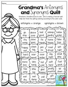 Reading Worksheets: Antonyms and Synonyms antonym
