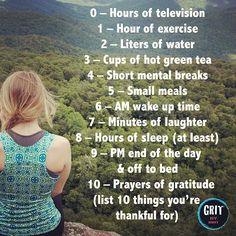 BRIT'S LIST OF HEALTHY HABITS – MY FIERCE FORMULA…  0 – Hours of television  1 – Hour of exercise  2 – Liters of water  3 – Cups of hot green tea  4 – Short mental breaks  5 – Small meals  6 – AM wake up time  7 – Minutes of laughter  8 – Hours of sleep (at least)  9 – PM end of the day and off to bed  10 – Prayers of gratitude (list 10 things you're thankful for)