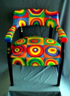 "Kandinsky style chair Buy an old thrift store item/ furniture and ""flip"" it artist style"