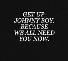 """Johnny Boy by Twenty One Pilots. I think the lyrics can be symbolized as God, or whoever/whatever you want to believe in, telling us to get up because people need us and the world- the earthly things, our demons, society, whatever beats us down and """"leaves us lying on the ground"""". We're God's (or whatever's) pride and joy and people WILL ALWAYS NEED US"""