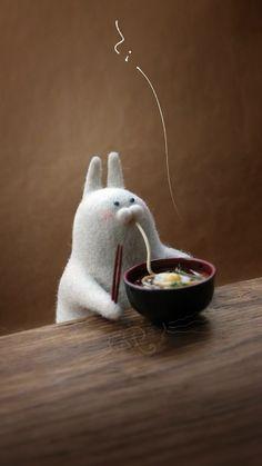手机壁纸版。吃面条的蛋蛋兔
