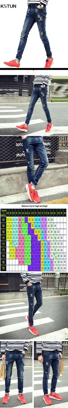 KSTUN Spring Summer Mens Jeans Casual Man Pants Jeans Stretch Korean Style Slim Pencil Skinny Tapered Long Trousers Ripped Jeans