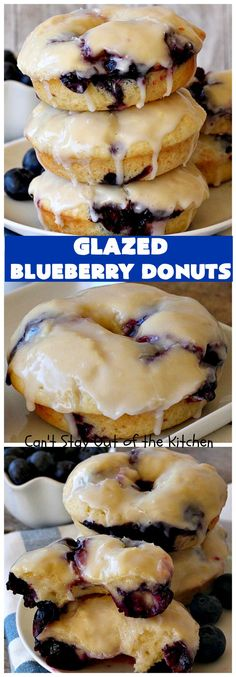 Glazed Blueberry Donuts Glazed Blueberry Donuts were sure a hìt at our house! These amazìng donuts are fìlled wìth blueberrìes and have a delìcìous vanìlla glaze on top. Baked Donuts, Doughnuts, Baked Blueberry Donuts, Churros, Donut Recipes, Cooking Recipes, Cooking Cake, Breakfast Recipes, Dessert Recipes