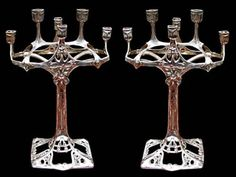 5990 Spectacular Pair of Antique Silver Art Nouveau Candelabras by WMF | eBay