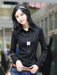 Beautiful Women Fashion Casual Solid Color Slim Stand Collar OL Office Long Sleeve Shirt Fashion Women Clothing from top store Long Sleeve Tops, Long Sleeve Shirts, Dress Shirts For Women, Shirt Blouses, Korean Fashion, Japanese Fashion, Casual Shirts, Womens Fashion, Sleeves