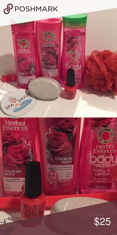 """Rose bath set Rose bath set contain new and used products. Items include: Herbal Essences Color Me Happy shampoo and conditioner (10.1 fl oz), Herbal Essences body wash (11.1 fl oz), O.P.I. Nail Lacquer in """"Guy Meets Gal-Veston"""" (.5 fl oz), pumice stone, and a body loofa. No trades. Reasonable offers accepted. Thank you for looking at my closet! Herbal Essences Makeup"""