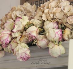 gorgeous shabby chic fall decor! get dried peonies from DriedDecor.com