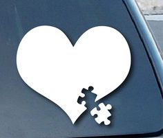 """Amazon.com: Autism Awareness Heart Puzzle Car Window Vinyl Decal Sticker 4"""" Wide (Color: White): Everything Else"""