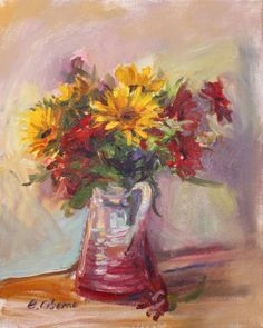 """Yellow Gerberas in Jug"" oil on canvas 16x20"""