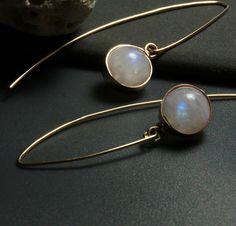 Moonstone Minimal Earrings in Gold Rainbow by HiBackyardRose