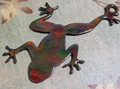 Enameled Copper Frog Pendant by EBBeadandMetalWorks on Etsy, $20.00