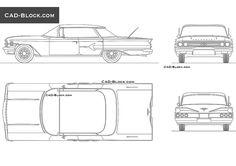 Chevrolet Impala (1960) CAD Block Chevrolet Impala 1960, Cad Library, Cad Blocks, Cad Drawing, Retro Cars, Autocad, Dan, Presentation, Architecture